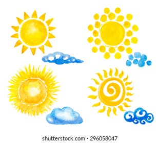 sun and clouds set. watercolor vector illustration
