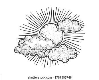 Sun and clouds in sky sketch engraving vector illustration. T-shirt apparel print design. Scratch board imitation. Black and white hand drawn image.