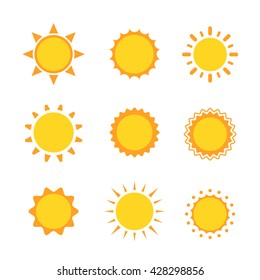 Sun collection icon sign set, Suns flat symbol, Object on a white background, Vector illustration