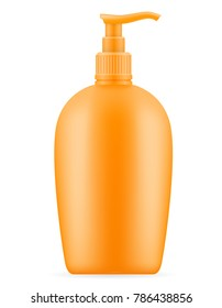 sun cream lotion sunblock suntan in a plastic container packaging stock vector illustration isolated on white background
