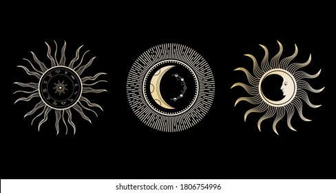 Sun, crescent and zodiac circle. Moon face.  Astrological zodiac signs, arranged in a circle.  Set of vintage illustrations.