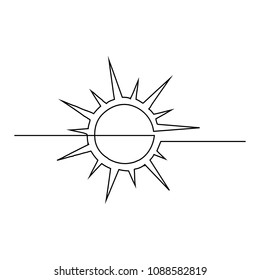 The sun is drawn by one black line on a white background. One-line drawing. Continuous line. Vector Eps10