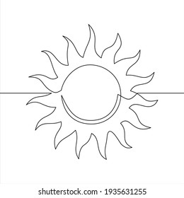 The sun is drawn by one black line on a white background. One-line drawing. Continuous line.
