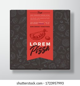 Sun Dried Tomato Frozen Pizza Realistic Cardboard Box. Abstract Vector Packaging Design or Label. Modern Typography, Sketch Seamless Food Pattern. Black Paper Background Layout. Isolated.