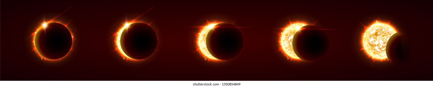 Sun eclipse, total and partial solar eclipse, several phases. Sun, moon and earth are nearly aligned on a straight line. Vector illustration, eps10