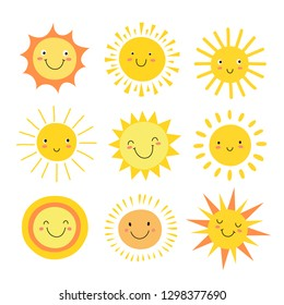 Sun emoji. Funny summer sunshine, sun baby happy morning emoticons. Cartoon sunny smiling faces vector icons