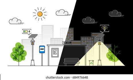 Sun energy sidewalk day and night vector illustration. Urban streetlight with solar panel to generate electricity line art concept. Street lantern with alternative energy technology graphic design.