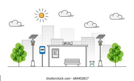 Sun energy sidewalk vector illustration. Urban streetlight with solar panel to generate electricity line art concept. Street lantern with alternative energy technology on the pavement graphic design.