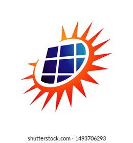 Sun Energy Solar panels logo vector design for green energy and nature electricity symbol icon