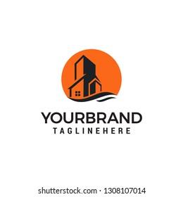 Sun Estate building logo design template.