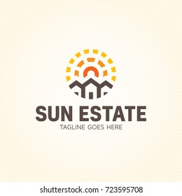 Sun Estate logo design template. Vector real estate building icon sign. Solar home symbol emblem in circle. Sunlight housing label illustration background. Construction branding company concept