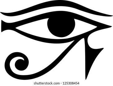 Sun Eye of Horus - reverse Moon Eye of Thoth / EYE OF HORUS - vector image / ancient Egyptian symbol of protection
