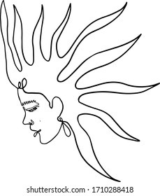 Sun with face stylized as engraving. Female beginning. Can be used as print for T-shirts and bags, cards, decor element. Vector astrology symbol. For cards, posters, stickers  and professional design.
