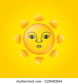 Sun face vector illustration