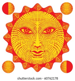 sun face woodcut with moon fazes, red and yellow with neutral face expression original vector illustration