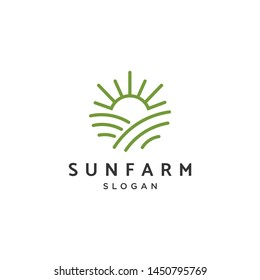 Sun in farm line monoline vector graphic logo design idea.