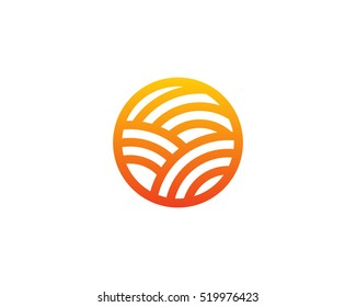 Sun Farm Nature Logo Design Template