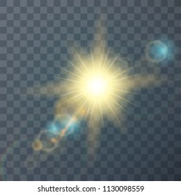 Sun flash with rays and spotlight.  Transparent sunlight special lens flare light effect. Vector Illustration