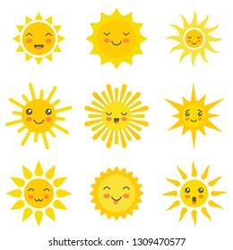 Sun flat emoji. Funny summer sunshine, sun baby happy morning yellow kawaii emoticons. Cartoon sunny kawaii smiling faces vector icons
