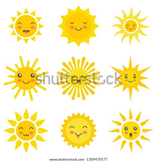Image Vectorielle De Stock De Soleil Plat Emoji Ensoleille Ete Soleil 1309470577