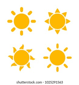 Sun flat icons set. Vector illustration
