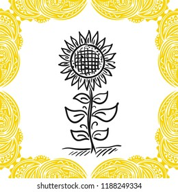 Sun flower. Vector illustration