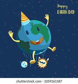 The sun in glasses and the moon throw the joyous Earth against the background of the star cosmos. Vector illustration in a cartoon style on the day of the Earth.