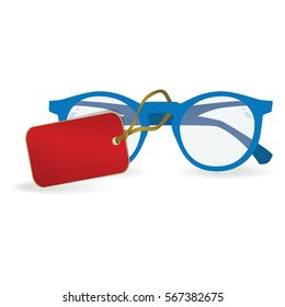 Sun glasses with a red label. Vector illustration