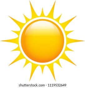 Sun glossy and bright shining with sharp rays. Graphic icon. Vector illustration