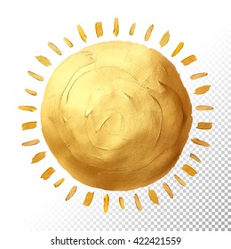 Sun gold texture.Vector gold hand painted smear stroke stain. Abstract vector gold glittering textured art illustration.