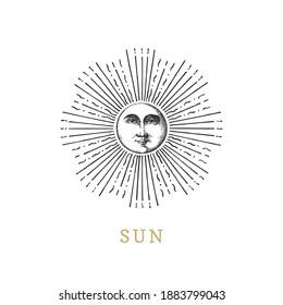 Sonne, handgezeichnet im Gravierstil. Vektorgrafik-Retrografik. Vintage Pastiche der esoterischen und okkulten Zeichen.