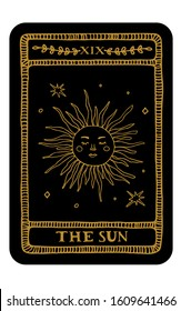The Sun. Hand drawn major arcana tarot card template. Tarot vector illustration in vintage style with mystic symbols, crystals and line art stars. Witchcraft concept for tarot readers