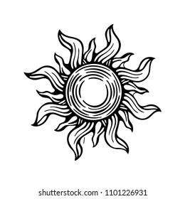 Sun. Sun hand drawn vector illustration. Sun sketch drawing symbol.