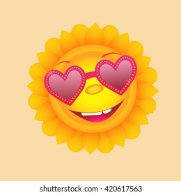 Sun with heart glasses. Cute vector icon.