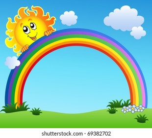 Sun holding rainbow on blue sky - vector illustration.