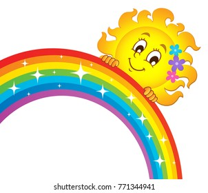 Sun holding rainbow theme 3 - eps10 vector illustration.