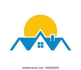 sun house house housing home residence residential residency real estate image vector icon 4