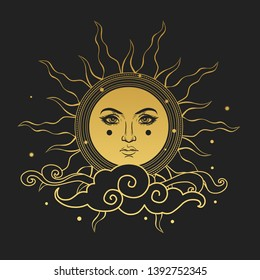 The Sun with human face. Vector hand drawn illustration on black background