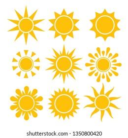 Sun icin collection. Vector isolated solar simbols.