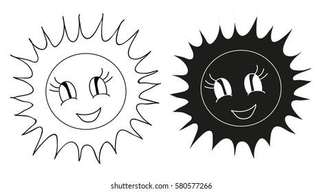 sun icon cartoon silhouette
