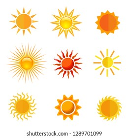 Sun icon collections for summer