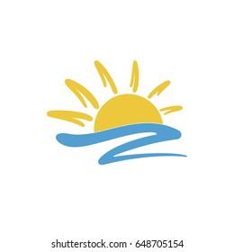 Sun icon creative logo design. Isolated vector illustration on white background.