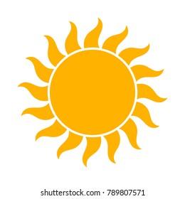 Sun icon, flat design illustration