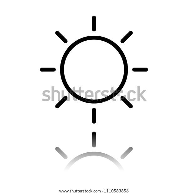 Sun Icon Linear Thin Outline Black Stock Vector (Royalty