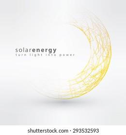 Sun icon made from power symbols. Solar energy logo design concept. Creative summer sign template. Sun power and Solar energy