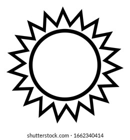Sun icon outline isolated vector illustration