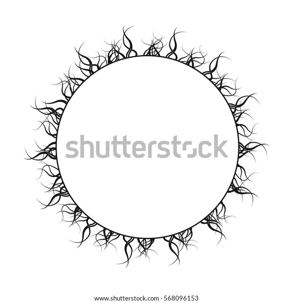 Sun icon in outline style isolated on white background. Planets symbol stock vector illustration.