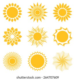 sun icon set, abstract and unusual forms, vector illustration