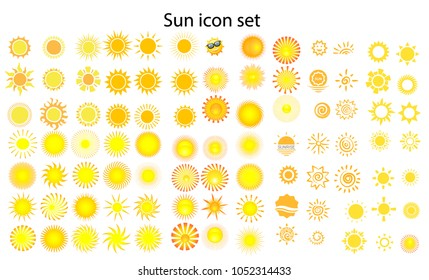 Sun icon set, Different icons for summer logo. Collection of graphic illustrations on an isolated background. various icons with rays. Vector illustration