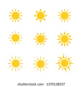 sun icon set isolated on white background. vector illustration.